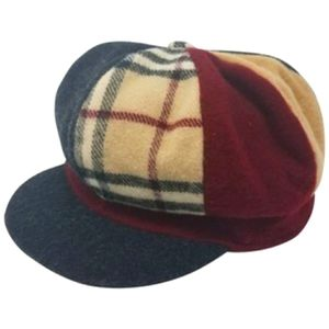 Burberry Multicolor London Plaid Wool Newsboy Cap